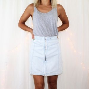 Abercrombie & Fitch Front Zip Denim Mini Skirt